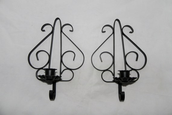 Pair Of Black Southwestern Scrolly 2 Candle Holders By