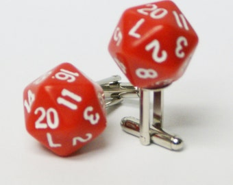 Red 20 Sided Dice Cufflinks d20 Free gift bag Unique Wedding