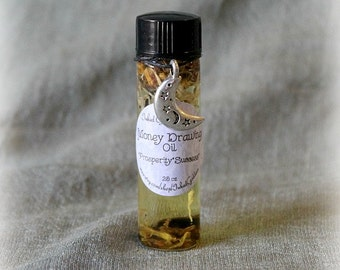 Money Drawing Oil, for Prosperity, Luck, Success, Glass Vial with Herbs, 2 Sizes