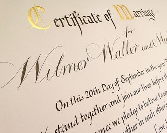 Autumnal Quaker marriage certificate in calligraphy