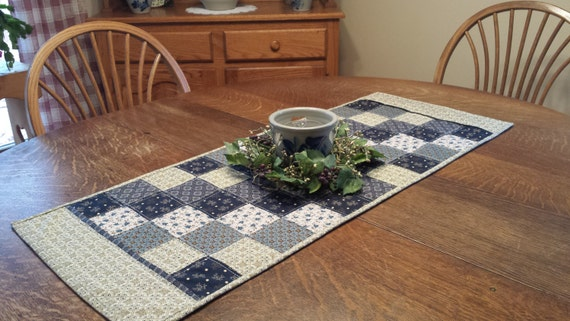 Quilted Table Runner, country table runner, patchwork table runner, quilted patchwork table runner, table runner, qulted runner