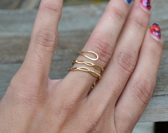 Bohemian Goddess Ring Jewelry, Gold Wire Stacking Ring Handmade Braided Wire Band