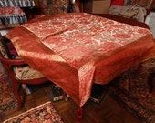 Venetian Silk Velvet Table Cover Throw Designer Mirella Spinella Coral Bronze Metallic Tassels