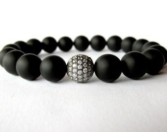 Mens Beaded Bracelet, Onyx Bracelet, Stretch Bracelet, Gemstone Bracelet, Beaded Onyx, Micro Pave