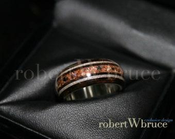 Meteorite & Dinosaur Bone Men's Exotic Wood Ring //  Ebony w/ Sterling Silver Liner - Exclusive rWb Custom Design
