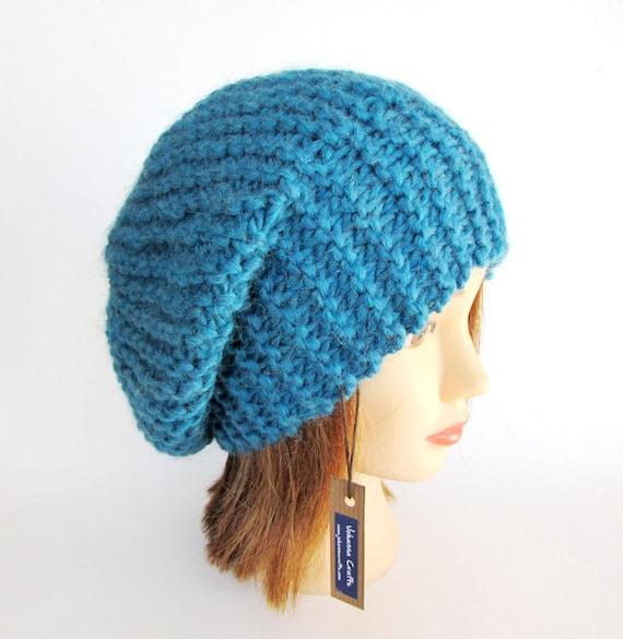 Irish Beret Knitting Pattern : Beret hat Slouchy beanie hat petrol blue slouch hat chunky ...