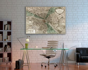 "Old map of Paris (1740) Paris map in 5 sizes up to 42""x53"" (106x135cm) Restoration Hardware Style Vintage map of Paris, France, Home Decor"