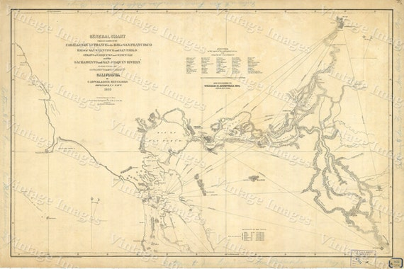 1850 Old California Map of San Francisco Bay Nautical Chart Wall Map Restoration Hardware style map coastal map Large Map