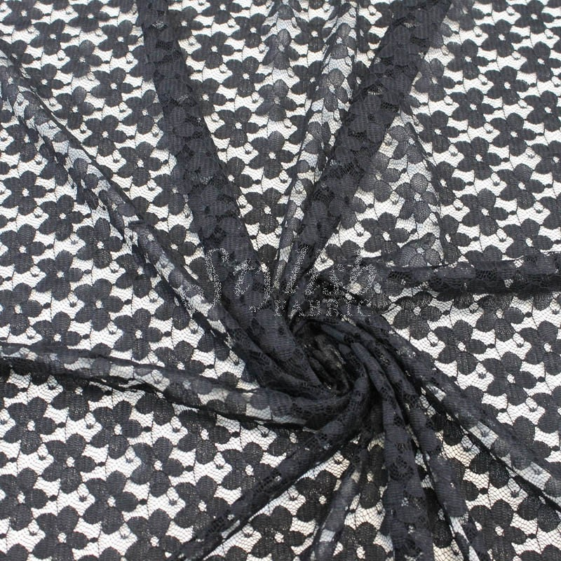 Stretch Lace Fabric Black by the yard Kate Floral Pattern