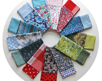 Handmade Pocket Square Hankie Set - Double Sided Modern Mens Cotton Handkerchiefs -Floral Spotty Striped Green Blue Purple Red-Glasses Cloth