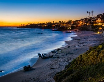 After-sunset view from cliffs at Heisler Park, in Laguna Beach, California - Landscape Photography Fine Art Print or Wrapped Canvas