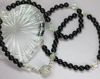Black Onyx Necklace, Onyx and Crystal Necklace, Onyx Jewelry, Onyx Gemstones, Protection Stone
