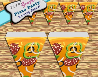 Party Banner Pizza Printable Banner Bunting Instant Download