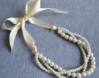 ivory pearl necklace, pearl necklace,Ribbon necklace,ivory Ribbon,Wedding necklace.bridesmaid necklace.3 rows necklace,glass pearl necklace