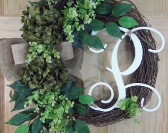 spring wreath - easter wreath - summer wreath - wreaths - hydrangea wreath - hydrangea wreath - mothers day