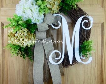 Wreath - Personalized wreath - Hydrangea wreath - Monogram wreath - Grapevine wreath.mothers day.wedding wreath