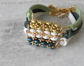 Friendship Suede Cord Bracelet, beaded handmade Bracelet, Elegant Gold Silver Beaded Bracelet, Leather Cord Bracelet, Bridesmaid gift