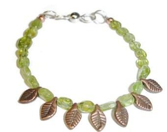 Leaf bracelet green bracelet gemstone bracelet peridot bracelet gold bracelet leafy bracelet Peridot and Leaves Bracelet