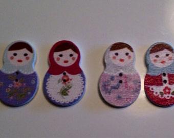 Wood Matryoshka Russian doll buttons (4) Wholesale