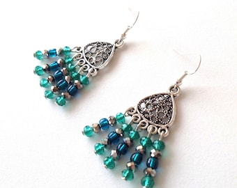 Turquoise and green crystal chandelier earrings