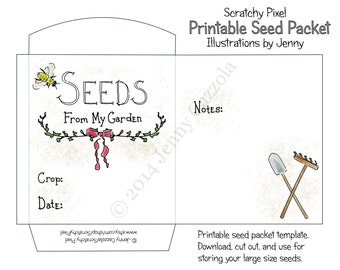 Printable Seed Packet; Large size  ~ PDF Instant Download