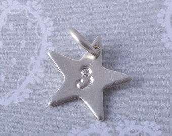 Sterling Silver Personalised Star charm ~ choose your initial