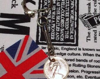 1974 British Half Pence Coin Keyring Key Chain Fob Queen Elizabeth II