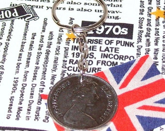 1973 British Old Large Ten Pence Coin Keyring Key Chain Fob Queen Elizabeth II