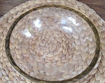 Vintage Hollywood Regency Gold Rimmed Clear Glass Bowl