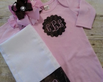 Baby girl Camo gown personalized