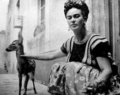 Frida Khalo with her pet baby deer Granizo (1939) Old Photos =Reproduction Antique/Vintage Photo Photograph Giclee Print