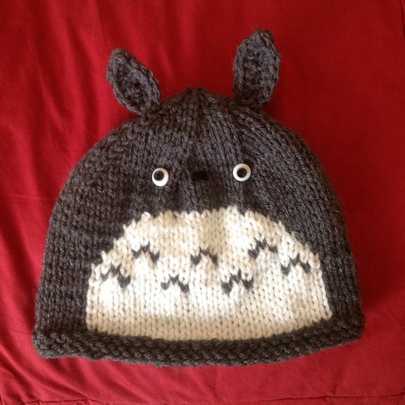 Knitting Pattern For Totoro Hat : Cute Cute Cute Fans of Totoro Hand-Knit Hat in by TalulaCrafts