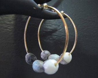 Agate and Gold large Hoops/Sale! All Sales Final