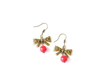 Brass bow / bowknot earrings, bow with red beads earrings