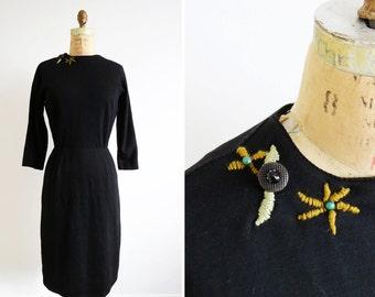 1960s Black Dress // Large 60s Little Black Dress // Long Sleeve Vintage Dress
