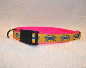Dog Collar with Blue Crabs
