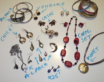 Vintage jewelry lot 23 pcs Rhinestone, coral set, 925, AB, signed, plus.     #16d.