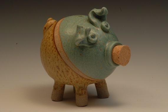 Handmade stoneware piggy bank wheel thrown piggy bank for Handmade coin bank