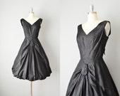 Vintage 50s Dress // 1950s Black Silk Taffeta Party Dress // Small