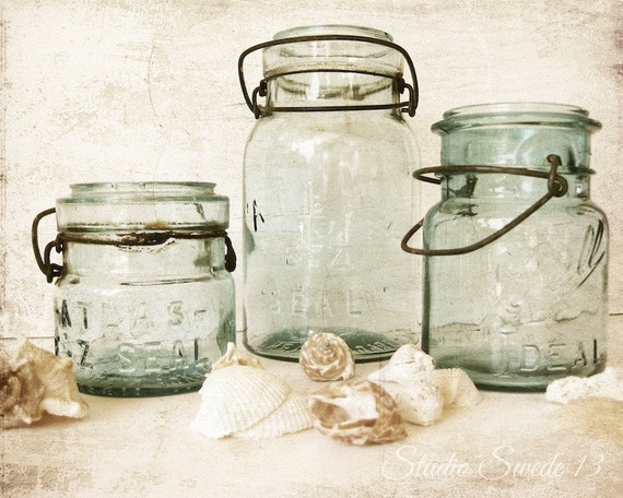 Beach kitchen art bathroom decor mason jars old jar print for Kitchen jar decoration