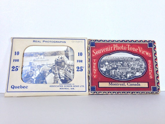 Vintage miniature photo tone Canada souvenir picture cards