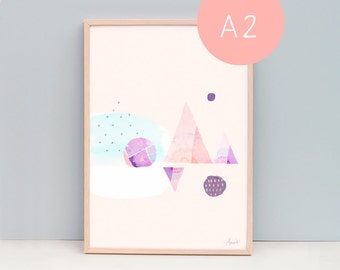 A2 Abstract minimal art - geometric shapes - Peach, purple, blue - Happiness