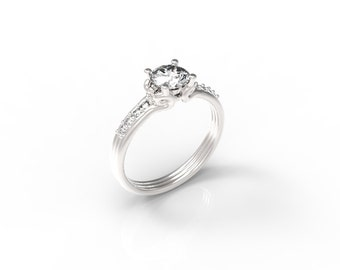 Diamond Engagement ring, 14kt white gold engagement ring, 14kt gold engagement ring