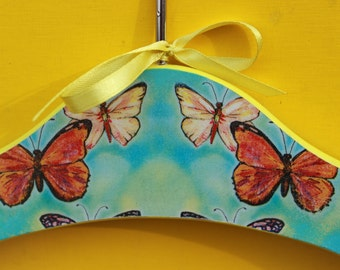 Blue Wooden Hanger for a Child's Coat Cabinet Accessory Hand Decorated Decoupaged with Butterflies for a Girl's Dress Yellow Red Insects