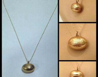 Antique Victorian Gold Filled Football Pendant on New Gold Filled Chain//1800s