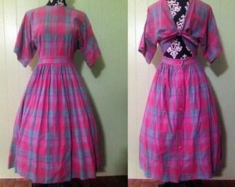 Vintage Style 1980s Plaid Dress