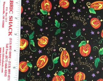 100% cotton Halloween Pumpkins fabric     1 yard