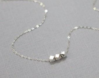 Sterling Silver Nugget Necklace, Sterling Silver Nugget Pendants on Sterling Silver Necklace Chain