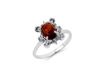 14K White Gold Garnet Ring, Garnet Ring, Gold Ring, Garnet Jewelry, Gold Jewelry, Circle Garnet, Fancy Ring, Fancy Jewelry, Garnet, Ring