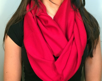 Red Pima Cotton Knit True Infinity Scarf